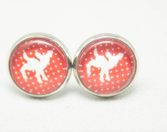 Glass Cabochon Earrings –White Deer On A Red Background With Polka Dots - Silver setting - One Pair