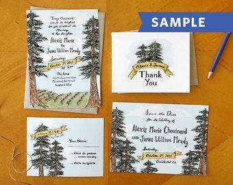 A Northern Romance: Hand Drawn Wedding Invitation Suite Printed Sample