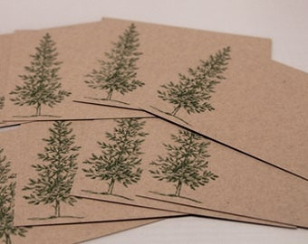 Tall Evergreen Tree All Occasion Note Card Set of Eight, Christmas Thank you Cards, Masculine Note Cards, Kraft Stationery Set
