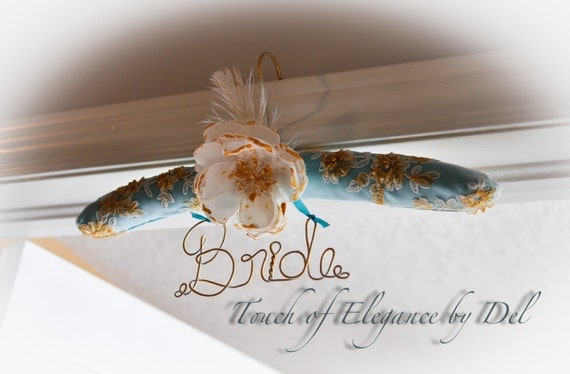 Vintage inspired hand painted French lace, Robin egg & Gold 'Bride' Hanger / Fairy-tale wedding hanger