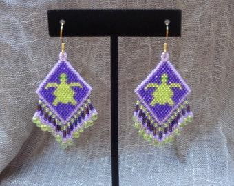 Native American style beaded turtle earrings, green and purple