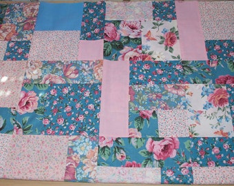 Blue and pink shabby quilt top