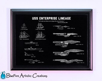 Star Trek Art, Enterprise Lineage Engraved Blueprint Plaque, Star Trek, Star Wars, Wall Art