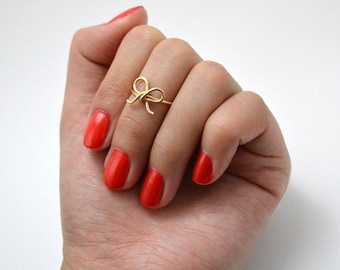 Gold Bow Tie Midi Ring • Tie the Knot • Forget me Not • Simple Dainty Gold Ring • Bridesmaid Gift • Bride Wedding Shower For Her Under 10