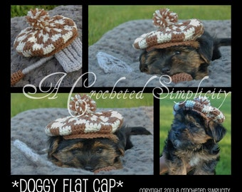 Crochet Pattern: Doggy Flat Cap,  Permission to Sell Finished Items