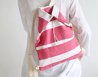 Repurposed cotton backpack / repurposed striped fabric / cotton straps / perfect for picnic, walking and bicycle trips