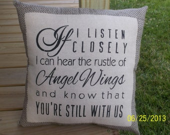If I Listen Closely Stenciled  Primitive handmade rustic pillow