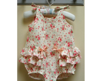 Romper sewing pattern, Rose Bud Romper pdf romper sewing pattern by Felicity Sewing Patterns, sizes 3 months to 3 years.