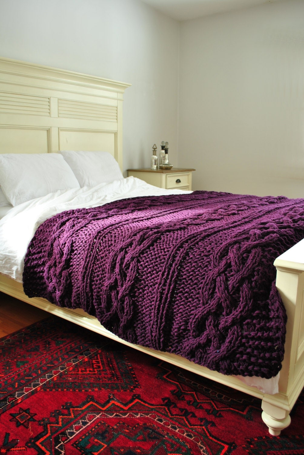 Chunky Cable Knit Throw Blanket In Deep By Campkitschyknits