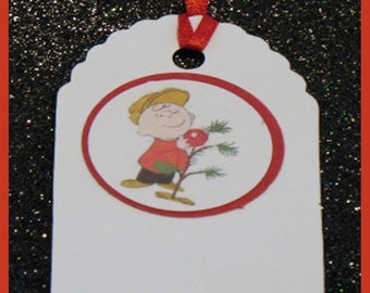 Charlie Brown Christmas Tree gift tags, Charlie Brown christmas tree favor tags, Charlie Brown gift tags, set of 10