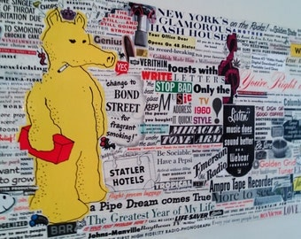Lord Quasy - Vintage Post Magazine Collage Featuring Quasimoto and Bee Friends