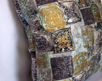 Vintage Mid-Century Graphic Charcoal Gray & Metallic Gold Pillow Cover // 17 x 17