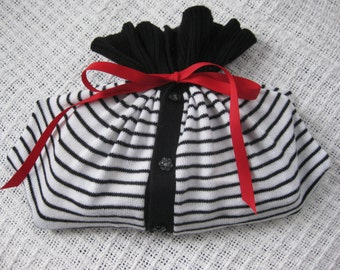 Black & White Gift Card Wrap Fabric Bag with Red Tie