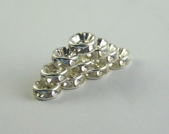Rhinestone Beads Spacer Rondelle 8 mm 20 count Free Combined Shipping