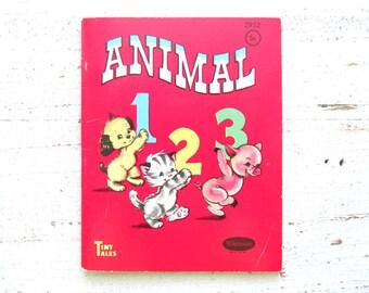 Animal 123 . Vintage Children's Book . Cute Animals . 1940's . 1949