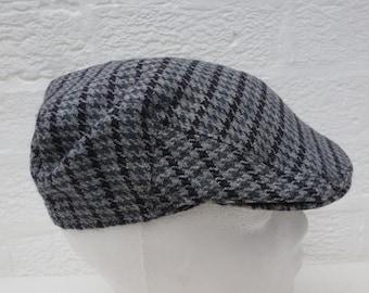 Boys flat cap vintage wool newsboy hat 1960s vintage headwear Heritage wool hat handmade vintage black houndstooth hat small cabbie cap.