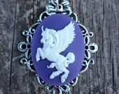 Pegasus cameo. Unicorn Cameo pendant. Kawaii Pegasus Pendant.