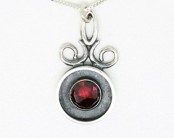 Silver and  Garnet pendant in a Victorian style, gift for a woman,OOAK  .