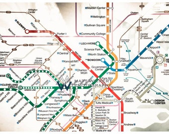 New England Photography, Boston Subway Map, Metallic Photographic Print