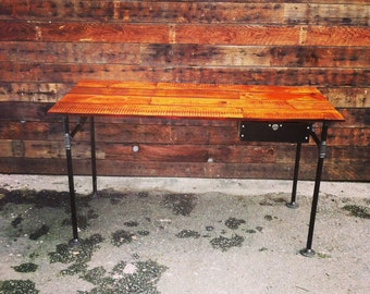 Barn wood desk with castiron pipe legs and drawer
