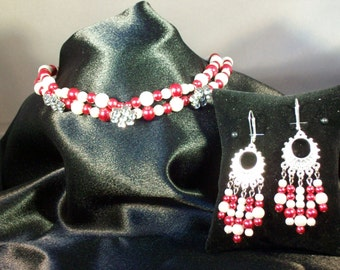 Red and White Glass Pearl Choker and Matching Earrings Set