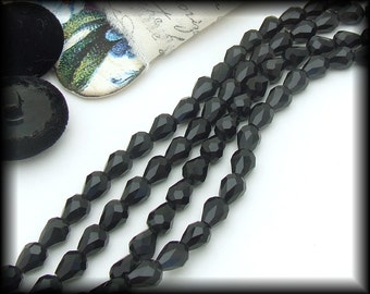 Black Glass Faceted Drop Beads, 12 7mm x 5mm