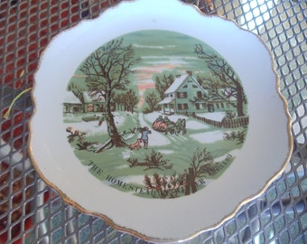 "Currier & Ives ""The Homestead Winter"" decorative plate - 7inches"