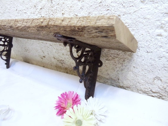 Reclaimed Wood And Metal Wall Shelves: Reclaimed Wood Shelf/Wall Cross Cast Iron By CharlesPlace