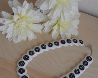 Button Necklace - White/Black and White Polka Dot