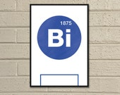 "Essential Elements: ""Birmingham"" A4 Football Print in blue and white."