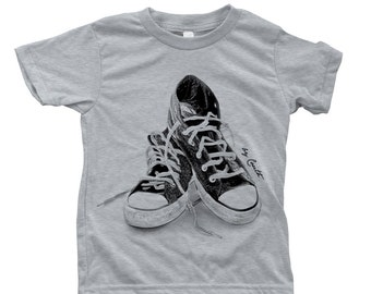 Kids Sneakers T shirt  Hand Screen Printed  American Apparel Short Sleeve Crew Neck