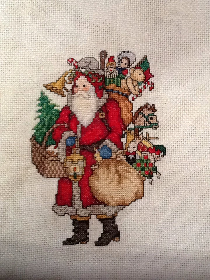 Counted Cross Stitch Red Santa Claus