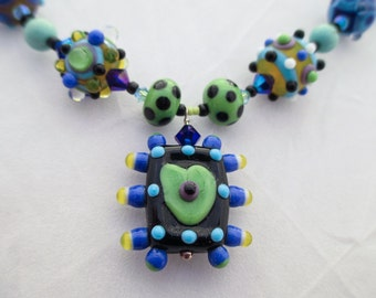 SALE - VALENTINE, Lampwork and Turquoise Necklace with Heart Pendant