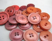 Vintage Buttons, Mixed Red Button Old Button Lot