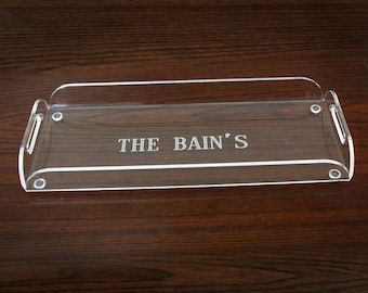 Monogrammed Acrylic Serving Tray - Engraved Serving Tray-Bar Tray-Personalized Wedding Gift