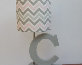 Small Pink/Grey/White Chevron Drum Lamp Shade - Nursery or Girl's Lamp Shade