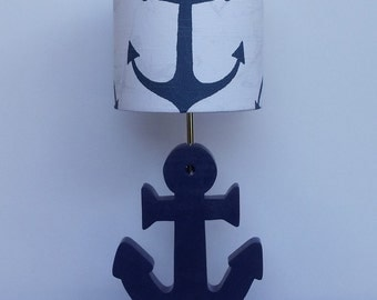 Small Handmade Navy Anchor/Nautical Theme Drum Lamp Shade