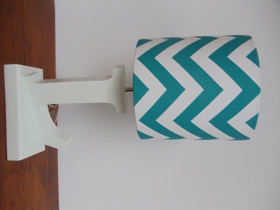 small aqua turquoise and white chevron drum lamp shade nursery girl. Black Bedroom Furniture Sets. Home Design Ideas