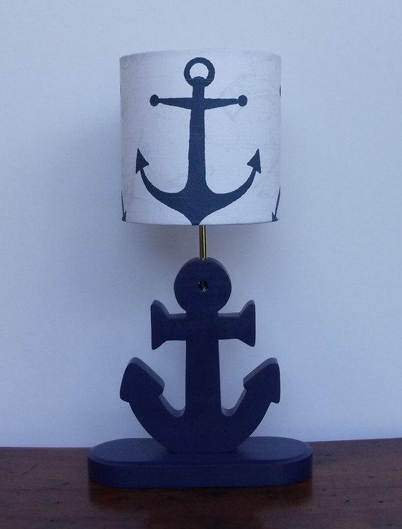 small handmade navy anchor nautical theme drum lamp shade. Black Bedroom Furniture Sets. Home Design Ideas