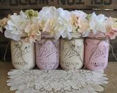 SALE!!! 4 Pint Mason Jars, Ball jars, Painted Mason Jars, Flower Vases, Rustic Wedding Centerpieces, Pink and Creme Mason Jars blush wedding