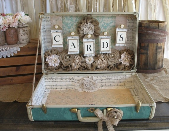 Vintage Wedding Gift Card Boxes : Vintage Suitcase for Rustic Wedding Card HolderWedding Card Box ...