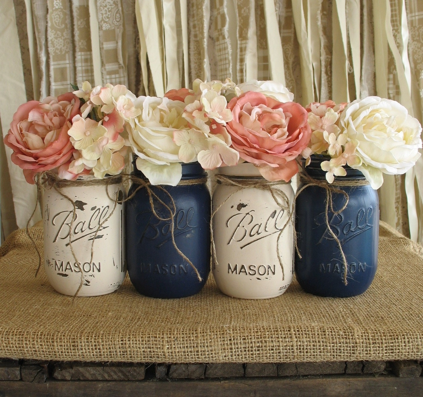 Blue Mason Jars Wedding Ideas: SALE Set Of 4 Pint Mason Jars Ball Jars Painted Mason