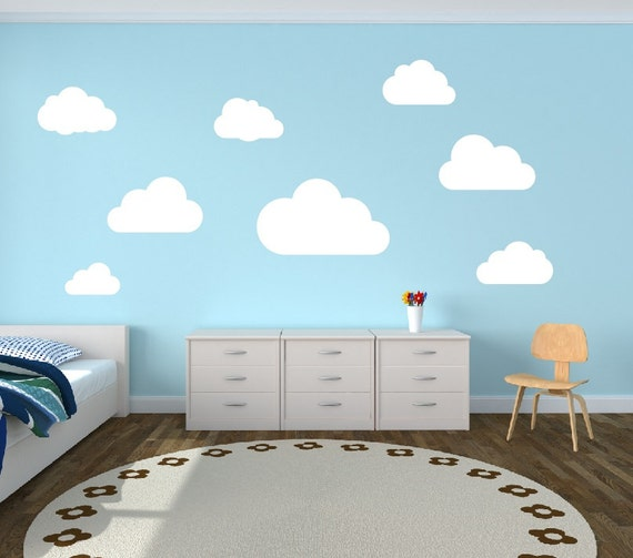Cloud Wall Decals Clouds Nursery Wall Decal Set Of  Clouds - Nursery wall decals clouds