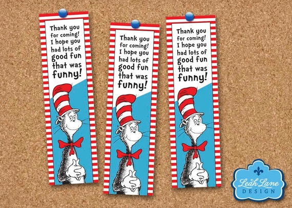 Cat In The Hat - Dr. Seuss Printable Bookmarks or Favor Tags - INSTANT ...