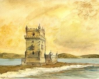 PRINT-Belém tower lisbon portugal architecture cityscape  - Art Print by Juan Bosco