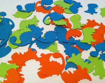 Dinosaur confetti, 150 pieces, birthday party decorations, Custom colors, 2 designs