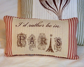 Decorative Pillow -Red French Ticking Pillow - Paris pillow - 8x13- I'd Rather be in Paris - Eiffel Tower -  French country - Pillows