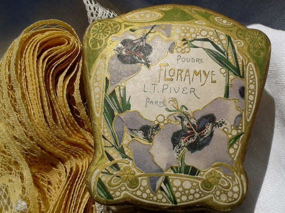 Art Nouveau Powder Box Floramye L.T Piver Paris Antique 1905 French Floral Motives Paper Box  Rachel Model Vintage Collectible Box Polychrom