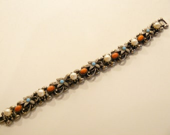Beautiful Vintage Ornate Faux Pearl, Turquoise & Coral Bookchain Bracelet