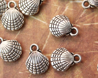 20 Sea Shell Charms Ocean Pendants Antiqued Silver-Double Sided 3D 10 x 10 mm